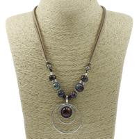 Ожерелья из фарфора, цинковый сплав, с фарфор & Бархат, с 5cm наполнитель цепи, Кольцевая форма, Другое покрытие, не содержит свинец и кадмий, 43x55x8mm, Продан через Приблизительно 18 дюймовый Strand