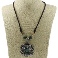 Ожерелья из фарфора, цинковый сплав, с фарфор & Нейлоновый шнурок, Форма цветка, плакированный цветом под старое серебро, со стразами, не содержит свинец и кадмий, 46x52x10mm, Продан через Приблизительно 18.5 дюймовый Strand