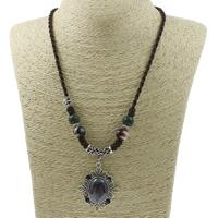 Ожерелья из фарфора, цинковый сплав, с фарфор & Нейлоновый шнурок, Форма цветка, плакированный цветом под старое серебро, не содержит свинец и кадмий, 38x47x8mm, Продан через Приблизительно 19.5 дюймовый Strand