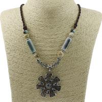 Ожерелья из фарфора, цинковый сплав, с фарфор & Нейлоновый шнурок, с 5cm наполнитель цепи, Форма цветка, плакированный цветом под старое серебро, со стразами, не содержит свинец и кадмий, 45x48x8mm, Продан через Приблизительно 23.5 дюймовый Strand