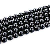 Musta Obsidian Helmet, Pyöreä, luonnollinen, erikokoisia valinnalle, Reikä:N. 1mm, Pituus:N. 15 tuuma, Myymät erä