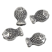 Zinc Alloy Animal Beads, Fish, antique silver color plated, lead & cadmium free, 7x10x4mm, Hole:Approx 1mm, 100G/Bag, Sold By Bag