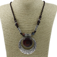 Ожерелья из фарфора, цинковый сплав, с фарфор & Нейлоновый шнурок, Плоская круглая форма, плакированный цветом под старое серебро, не содержит свинец и кадмий, 56x65x6mm, Продан через 20 дюймовый Strand