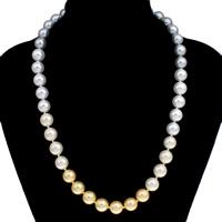 Ожерелье из ракушки Южного моря, южноморская ракушка, латунь Замочек 'штык', Круглая, 10-11mm, Продан через Приблизительно 18 дюймовый Strand