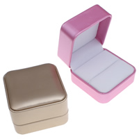 Cardboard Single Ring Box, with PU & Velveteen, Square, more colors for choice, 70x48x70mm, Sold By PC