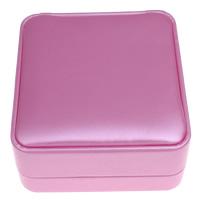 Kartonowe pudełko na naszyjnik, Tektura, ze PU & Welwet, Kwadrat, różowy, 86x42x93mm, sprzedane przez PC