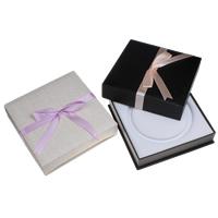 Kartonowe pudełko na naszyjnik, Tektura, ze PU & Welwet, Kwadrat, dostępnych więcej kolorów, 195x48x195mm, sprzedane przez PC