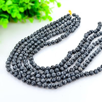 Natural Snowflake Obsidian Beads, Round, different size for choice, black, Hole:Approx 1mm, Length:Approx 15 Inch, Sold By Lot