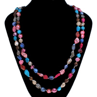 Natural Freshwater Pearl Long Necklace, Baroque, multi-colored, 8-10mm, Sold Per Approx 46 Inch Strand