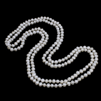 Natural Freshwater Pearl Long Necklace, Potato, white, 5-6mm, Sold Per Approx 46 Inch Strand