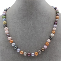 Freshwater Pearl Necklace with 4cm extender chain Potato multi-colored 8-9mm Sold Per Approx 16.5 Inch Strand