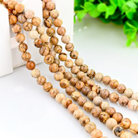 Natural Picture Jasper Beads, Round, different size for choice, Hole:Approx 1mm, Length:Approx 15 Inch, Sold By Lot