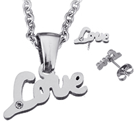 Fashion Stainless Steel Jewelry Sets, earring & necklace, word love, oval chain & with rhinestone, original color, 16.5x7.5x1.5mm, 2x2.5x0.5mm, 11x5x7.5mm, Length:Approx 20 Inch, Sold By Set