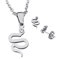 Fashion Stainless Steel Jewelry Sets, earring & necklace, Snake, oval chain & with rhinestone, original color, 11x19x1.5mm, 2x2.5x0.5mm, 6x9x13mm, Length:Approx 20 Inch, Sold By Set