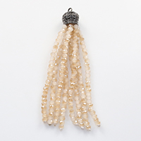 Decorative Tassel, Crystal, with brass bail, plumbum black color plated, half-plated & faceted, 10x71mm, 3x2mm, Hole:Approx 2mm, 10PCs/Lot, Sold By Lot