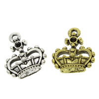 Zinc Alloy Pendant Rhinestone Setting Crown plated lead   cadmium free 16x19x6mm Hole:Approx 1.5mm Inner Diameter:Approx 2mm 500PCs/Bag