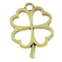 Zamak Clover Hanger, Zinc Alloy, Four Leaf Clover, antiek brons plated, lood en cadmium vrij, 17x24x2mm, Gat:Ca 1.5mm, 500pC's/Bag, Verkocht door Bag