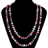 Natural Freshwater Pearl Long Necklace, Baroque, multi-colored, 9-10mm, Sold Per Approx 45.5 Inch Strand