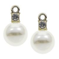 Plastikowe zawieszki, Stop cynku, ze Tworzywa ABS perła, Platerowane w kolorze złota, z kamieniem, bez zawartości ołowiu i kadmu, 12x20x13mm, otwór:około 1.5mm, 100komputery/torba, sprzedane przez torba