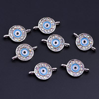 Zinc Alloy Connector, Flat Round, platinum color plated, evil eye pattern & enamel & with rhinestone & 1/1 loop, lead & cadmium free, 11.5x2mm, Hole:Approx 2mm, 60PCs/Bag, Sold By Bag