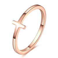 Titanium Steel Finger Ring, Cross, rose gold color plated, US Ring Size:8, 10PCs/Lot, Sold By Lot