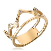 Пальцевидное Кольцо Титановой Стали, титан, Корона, плакирован золотом, со стразами, 9mm, размер:11, 20ПК/Лот, продается Лот