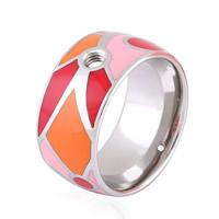 Пальцевидное Кольцо Титановой Стали, титан, эмаль, оригинальный цвет, размер:6, 10ПК/Лот, продается Лот