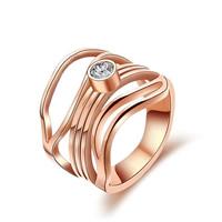 Пальцевидное Кольцо Титановой Стали, титан, плакированный цветом розового золота, со стразами & отверстие, 14mm, размер:6, 10ПК/Лот, продается Лот