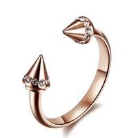 титан Манжеты палец кольцо, плакированный цветом розового золота, открыть & со стразами, 5mm, размер:6, 10ПК/Лот, продается Лот