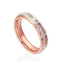 Пальцевидное Кольцо Титановой Стали, титан, плакированный цветом розового золота, с кубическим цирконием, размер:6, 5ПК/Лот, продается Лот