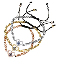 Evil Eye Woven Ball Bracelet, Brass, with Nylon Cord, Heart, plated, with eye pattern & adjustable & micro pave cubic zirconia & epoxy sticker, more colors for choice, nickel, lead & cadmium free, 18.5x11.5x3mm, 4mm, Length:Approx 6-10 Inch, 10Strands/Lot, Sold By Lot