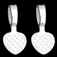 Zinc Alloy Glue on Bail, Heart, silver color plated, lead & cadmium free, 10x20x6mm, Hole:Approx 4x7mm, 100G/Bag, Sold By Bag