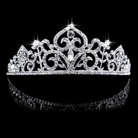 Bridal Tiaras, Zinc Alloy, with Crystal, Crown, silver color plated, for bridal & faceted & with rhinestone, lead & cadmium free, 150x60mm, 3PCs/Bag, Sold By Bag