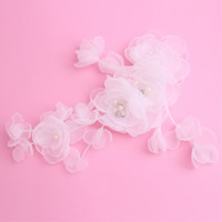 Bridal Hair Flowers, Spun Silk, with ABS Plastic Pearl, for bridal & with rhinestone, white, 150x60mm, Sold By PC