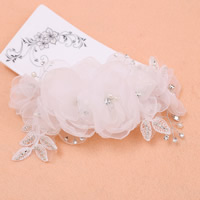 Bridal Hair Flowers, Spun Silk, with ABS Plastic Pearl & Lace, for bridal & with rhinestone, white, 80mm, Sold By PC