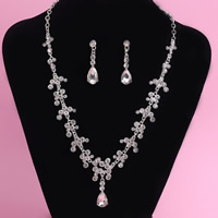 Wedding Jewelry Sets, Zinc Alloy, earring & necklace, with iron chain & Crystal, stainless steel post pin, Teardrop, silver color plated, for bridal & oval chain & faceted & with rhinestone, lead & cadmium free, 45cm, Length:Approx 17.5 Inch, 3Set/Lot, Sold By Lot