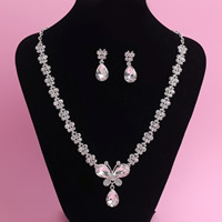 Wedding Jewelry Sets, Zinc Alloy, earring & necklace, with iron chain & Crystal, stainless steel post pin, Butterfly, silver color plated, for bridal & oval chain & faceted & with rhinestone, lead & cadmium free, 45cm, Length:Approx 17.5 Inch, 3Set/Lot, Sold By Lot