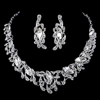 Wedding Jewelry Sets, Zinc Alloy, earring & necklace, with plastic earnut & iron chain & Crystal, stainless steel post pin, with 5cm extender chain, silver color plated, for bridal & rolo chain & faceted & with rhinestone, lead & cadmium free, 45cm, Length:Approx 17.5 Inch, 3Set/Lot, Sold By Lot