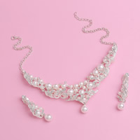 Wedding Jewelry Sets, Zinc Alloy, earring & necklace, with ABS Plastic Pearl & iron chain, with 5cm extender chain, Teardrop, silver color plated, for bridal & oval chain & with rhinestone, lead & cadmium free, 45cm, Length:Approx 17.5 Inch, 3Set/Lot, Sold By Lot
