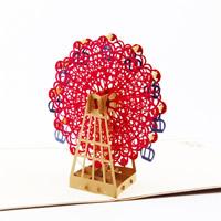 бумага 3D открытка, Колесо обозрения, 3D-эффект, Коричневый, 150x150mm, 10ПК/Лот, продается Лот