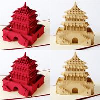 бумага 3D открытка, здание, 3D-эффект, Много цветов для выбора, 175x185mm, 10ПК/Лот, продается Лот