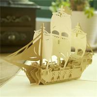 бумага 3D открытка, Корабль, 3D-эффект, Коричневый, 150x150mm, 10ПК/Лот, продается Лот