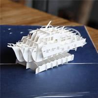 бумага 3D открытка, Корабль, 3D-эффект, белый, 130x200mm, 5ПК/Лот, продается Лот
