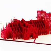 бумага 3D открытка, здание, 3D-эффект, красный, 175x185mm, 5ПК/Лот, продается Лот