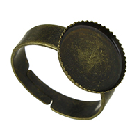 Brass Bezel Ring Base, antique bronze color plated, adjustable, nickel, lead & cadmium free, 13x13x1.50mm, Inner Diameter:Approx 12x12mm, US Ring Size:7, 100PCs/Lot, Sold By Lot