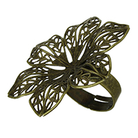 Brass Filigree Ring Base Flower antique bronze color plated adjustable nickel lead   cadmium free 42.50x37x0.50mm Inner Diameter:Approx 15x15mm US Ring Size:7 100PCs/Lot