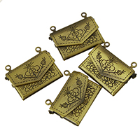 Brass Locket Pendants Envelope platinum color plated double-hole nickel lead   cadmium free 22x17x5mm Hole:Approx 1mm 10PCs/Lot