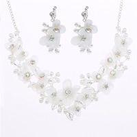 Wedding Jewelry Sets, Zinc Alloy, earring & necklace, with ABS Plastic Pearl & iron chain & Spun Silk, with 5cm extender chain, Flower, silver color plated, for bridal & twist oval chain & with rhinestone, lead & cadmium free, 45cm, Length:Approx 17.5 Inch, 3Set/Lot, Sold By Lot