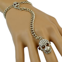 Zinc Alloy Bracelet Ring with 1lnch extender chain Skull platinum color plated twist oval chain   with rhinestone nickel lead   cadmium free 130mm US Ring Size:8 Length:Approx 8 Inch 3Strands/Lot