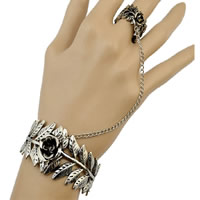 Zinc Alloy Bracelet Ring Leaf antique silver color plated twist oval chain nickel lead   cadmium free US Ring Size:8 Length:Approx 6 Inch 3Strands/Lot